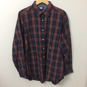 TOMMY JEANS Large Red Christmas Button Down Top
